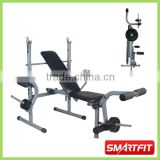 Foldable Weight Bench with barbell and plate rack portable gym exercise equipment