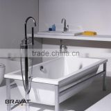 Wooden support free standing bathtub seamless joint B25809W-B