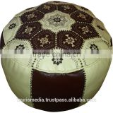 Moroccan cream and brown leather pouffe ottomans pouf genuine leather handmade new style