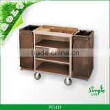 High Quality Customized Multi-function Steel Housekeeping Trolley with Canvas Bags Can Unpick Wash