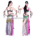 Hot Pink Stylish Fringe Hip Scarf Tribal Belly Dance Costume girl latin dance dress
