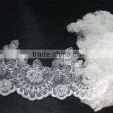 white guipure lace trimmings/pearl trim lace/brocade lace trimmings/hand beaded embroidery lace/bridal lace trim/bridal beaded