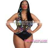 Cheap Wholesale Sheer Mesh Insert Stunning Printed Plus Size Bikini Woman 2016 Oem