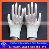 Cheap carbon fiber pu coated electrostatic gloves for electronic production line                                                                                                         Supplier's Choice