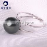 huge and luxury design 11-12mm black pearl and diamond ring
