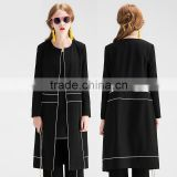 Women's Slim Fit Color Contrast Trim None Buttons Casual Suit Long Blazer Light Coat Autumn Clothes Supplier Guangzhou