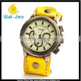 WJ-4008 luxury retro vintage sports big dial genuine leather wrist watch cases stainless