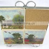 Eco-friendly bar absorbent stone coaster with mdf cork