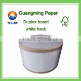 guangdong paper products/white paperboard/duplex board with white back