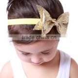 in stock baby large bow turban hairbands girls gold sequin bow baby headbands