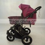 2015 Baby pram 3 in 1 with big air wheel, height postion wiht 3 postion seat, 5 point safety belt.