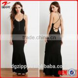 2015 Hot sale summer crisscross strap long backless dress for women, ladies western dress designs
