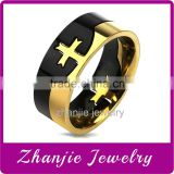 China Factory Wholesale Religious Jewelry Titanium Two Tone Cross Stainless Steel Catholic Prayer Finger Ring For Muslim