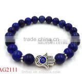 wholesale jewelry silver hamsa hand charm bracelet,natural lapis lazuli beaded evil eye bracelet bangle                                                                         Quality Choice