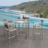 Modern Garden Outdoor Brushed Aluminum WPC 4 Person Outdoor Bar Table and Chair Furniture