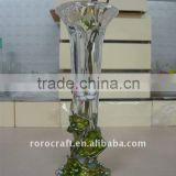 pewter design enamel color craft flower vase glass crystal vase