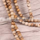 "Brown Round Picture Jasper Beads Natural Stone Beads 8mm Strand 15""/Diy For Jewelry Making"