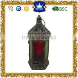 Colorful glass antique moroccan metal candle lantern