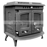 best sell cast iron wood burning double door heat stove for indoor use