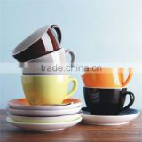 Color Glazed Logo Decal Artwork Customized Ceramic Stoneware Cups and Saucers Dishes Plates Sets
