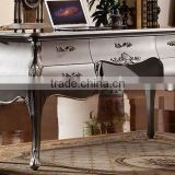 European Style Luxury Executive Office Desk, Classic Wood Carving Writing Table, Silver Foil Home Office Furniture (BF01-ML019)