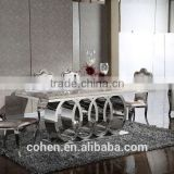 Audi symbol base marble top dining table set/dining table and chairs with stainless steel furniture and restaurant furniture