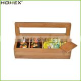 100% Natural Bamboo Storage Box With Lid Beautiful Tea Bag Storage Box with 4 Equally Divided Compartments/Homex_Factory