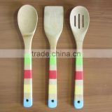 2016 new product bamboo kitchen utensil set with 4-color handle