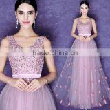 handmade crystal beaded sheath nude evening pink prom dress