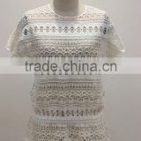 latest new ladies cummer crochet cotton lace short sleeve casual blouse top style