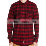 Top quality latest shirts design red black men flannel shirt