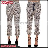 Beige Leopard Print Women Pants Alibaba Supplier Casual Lady Pants With Elastic Waist and Cuff