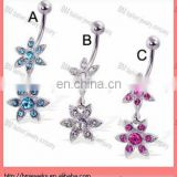 beautiful Belly button ring with two jeweled flowers in stainless steel with crystal body piercing jewelry ring