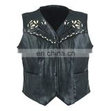 HMB-3261E LEATHER VEST BIKER ROSE STYLE BRAIDS COAT BLACK