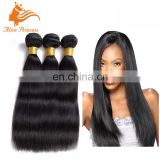 Natural Black Color Yaki Human Hair Weft Straight Remy Human Virgin Hair Bundles For Black Women