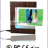 wood grain photo frame stand display,magnetic levitating E shape photo frame for present