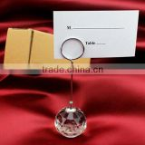 Clear crystal round ball name card stand desk name plate holder