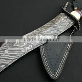 "udk h59"" custom handmade Damascus hunting knife / Bowie knife with camel bone and buffalo horn spacers handle"