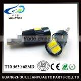 Hot Sale Auto Led bulb W5W T10 5630 6SMD with lens canbus in black 12V LED reading lights car led light