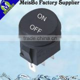 Round full black CE 3 pin rocker switch in micro type