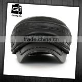 Blank Plain Black European Simple Style Flat-Top Outdoor PU Leather Military Style Caps                                                                         Quality Choice