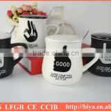 coffee mug with spoon popular cup ceramic cup with decal printing coffee mug with lid and handles