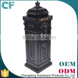 Foshan Factory Lion Ornament Black Vintage Aluminium Letter Box For Gates letterbox