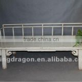 Chinese antique furniture Pine wood Shanxi white color back support bed
