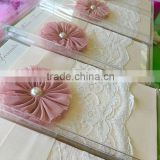 Beautiful & charming ivory lace wedding invitations with ribbons & pink cloth flower & pearl decoration                                                                         Quality Choice