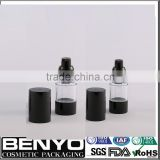 15ml,30ml,50ml clear empty airless black bottle for skin care cream                                                                                                         Supplier's Choice