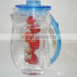 2L clear fruit plastic infusion pitcher with lid