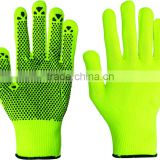 Single side yellow PVC dotted cotton hand gloves