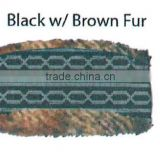 Fashion Winter promotional customized jacquard acrylic knitted headband collection with faux fur lining