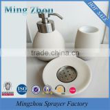 MZ-Ceramic Bathroom Accessory Set with satinless steel lotion pump for easy grip Quality Choice